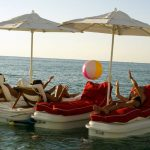 Raft up and play or relax on your floating cabana.