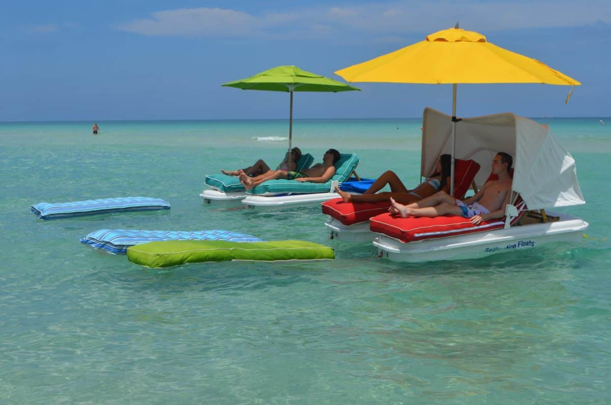 Seaduction Floats and Super Schmooze Floating Lounge Cushions
